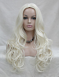 Fashion Sexy No Bangs Skin Top White Blonde Long Wavy Synthetic Full Wig Cosplay