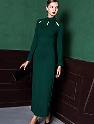 Damen Hülle Kleid-Ausgehen Einfach Solide Ständer Maxi Langarm Grün Nylon Frühling / Herbst Hohe Hüfthöhe Dehnbar Mittel