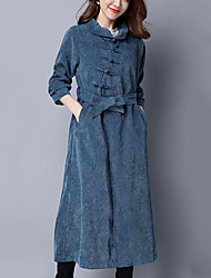 Women's Casual Vintage Loose Coat Solid /Striped Peter Pan Collar Long Sleeve Fall /Winter Blue /Black Corduroy Thick