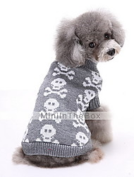 Dog Sweater Dog Clothes Winter Skulls Cute Keep Warm Black Gray Red