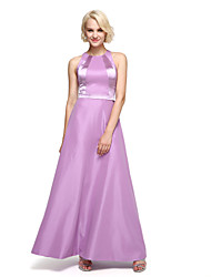 LAN TING BRIDE Ankle-length Jewel Bridesmaid Dress - Color Block Sleeveless Taffeta
