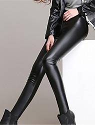 Women Solid Color Legging,PU