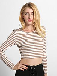 Tee-shirt Femme,Rayé Sortie / Décontracté / Quotidien simple Toutes les Saisons Manches Longues Col Arrondi Marron Coton / Spandex Fin