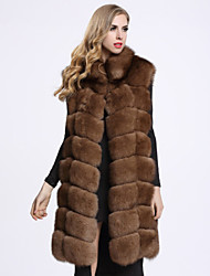 BF-Fur Style  Women's Casual/Daily Sophisticated Fur CoatSolid Stand Sleeveless Winter Brown Fox Fur