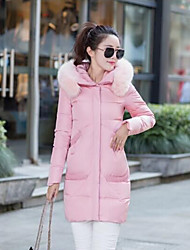 Women's Down Coat,Simple Casual/Daily Solid-Polyester White Duck Down Long Sleeve Blue / Pink / Black