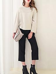 Damen Solide Einfach / Niedlich Lässig/Alltäglich T-shirt,Rundhalsausschnitt Langarm Weiß Baumwolle / Polyester