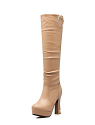 Women's Pull On High Heels Pu Solid High Top Boots