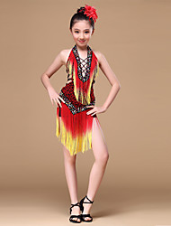 Latin Dance Dresses Children's Performance Chinlon / Viscose Paillettes / Sequins / Tassel(s) / Leopard Red