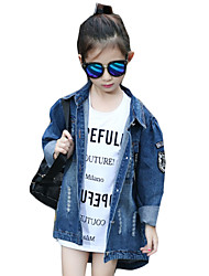 Girl's Casual/Daily Solid Blouse / JeansCotton Spring / Fall Blue