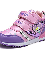 Girl's Athletic Shoes Spring Fall Winter Comfort PU Outdoor Athletic Casual Flat Heel Split Joint Pink Purple Coral