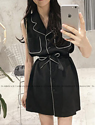 Women's Casual/Daily Simple Jackets,Solid V Neck Sleeveless Summer Black Others Thin
