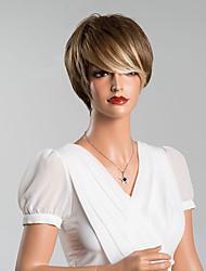 nova chegada única curto sem tampa reta perucas de alta qualidade cabelo humano cor misturada 8 inchs