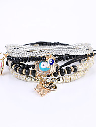 European And American Fashion Popular Hand On The Small Leaf All-Match Multilayer Handmade Beaded Stretch Bracelet Multi Bracelet Christmas Gifts