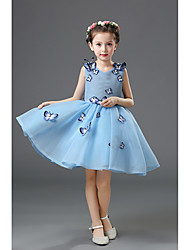A-line Knee-length Flower Girl Dress - Tulle Sleeveless Jewel with Appliques / Flower(s)