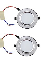 YouOKLight 2PCS 3W 300lm 3000K/6000K Warm White/White 6-SMD 5730 LED Ceiling Lamp - Silver (85265V)