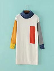 Women's Casual/Daily Boho Long Pullover,Geometric Turtleneck Long Sleeve Polyester Fall Winter Medium Micro-elastic