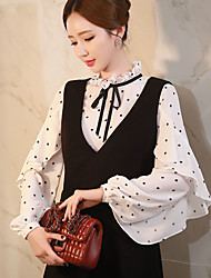 DABUWAWA Women's Going out /Daily / Work Vintage / Cute / SophisticatedShirtPolka Dot Stand Long Sleeve