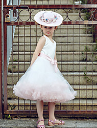 Ball Gown Knee-length Flower Girl Dress - Tulle / Stretch Satin Sleeveless Jewel with Sash / Ribbon