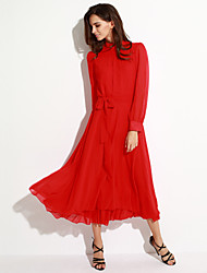 Women's Vintage Inelastic Long Sleeve Maxi Dress (Chiffon)
