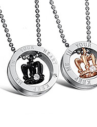 Necklace Pendant Necklaces Jewelry Daily Love Stainless Steel Women / Men / Couples 1pc Gift Gold / Black