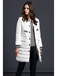 Women's Long Padded Coat,Simple Going out Solid-Cotton Polypropylene Long Sleeve Stand White / Black