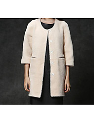 Women's Casual/Daily Simple Fur Coat,Solid Long Sleeve Fall White / Gray Special Fur Types Medium