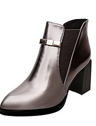 Черный Коричневый Серый-Женский-Для офиса Повседневный-Свиная кожа-На толстом каблуке-Удобная обувь-Ботинки