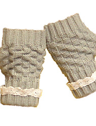 Ladies Short Lace Gloves (Light Gray Short Lace Gloves)