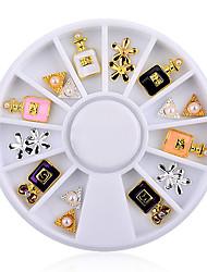 3d Charm Perfume Bottle Flowers Triangle Rhinestones Alloy Nail Art Tips Decoration Wheel
