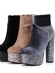 Women's Boots Winter Platform / Fashion Boots Velvet / Glitter Party & Evening / Casual Chunky Heel Sparkling Glitter /