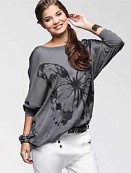 Damen Druck Einfach Lässig/Alltäglich T-shirt,Rundhalsausschnitt Herbst / Winter Langarm Rosa / Grau Kunstseide / Polyester Dünn