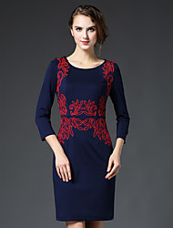 GATHER BEAUTY Women's Going out Simple Sheath DressEmbroidered Round Neck Knee-length  Sleeve Blue Cotton / Rayon Fall High Rise Inelastic Medium