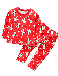 Girl's Casual/Daily Animal Print Clothing Set,Cotton Spring / Fall Red