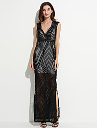 Women's  Lace Nude Side Slit Maxi Dress
