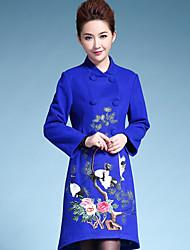 Feminino Casaco Casual Chinoiserie Outono,Bordado Azul Lã / Poliéster Colarinho Chinês-Manga Longa Média