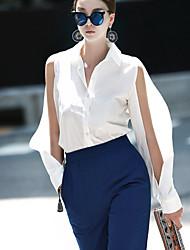 Women's Going out Sexy Fall ShirtSolid Shirt Collar Long Sleeve White Cotton Medium