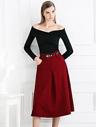 Damen Röcke - Einfach Knielang Wolle Unelastisch
