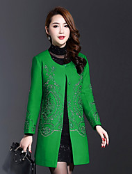 AINIER Women's Casual/Daily Chinoiserie CoatJacquard Round Neck Long Sleeve Fall / Winter Green Wool / Polyester Medium