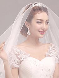 Wedding Veil One-tier Elbow Veils Pearl Trim Edge Tulle