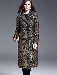 Damen Druck Anspruchsvoll Lässig/Alltäglich Trenchcoat,Winter Gekerbtes Revers Langarm Blau Mittel Polyester
