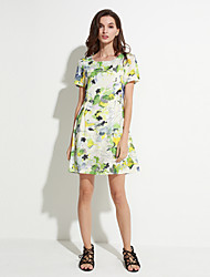 Women's Going out Street chic A Line Dress,Floral Round Neck Above Knee Short Sleeve Green Cotton / Polyester Summer