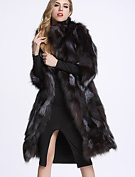 BF-Fur Style Women's Casual/Daily Sophisticated Fur CoatSolid Turtleneck  Sleeve Winter Black Fox Fur