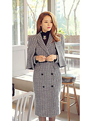 Women's Casual/Daily Simple Coat,Check Long Sleeve Winter Black Special Fur Types Thick