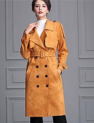 Feminino Bainha Vestido,Casual Moda de Rua Sólido Decote V Médio Manga Longa Rosa / Marrom Poliéster Outono Cintura Alta Micro-Elástica