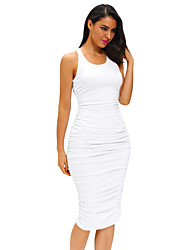 Women's Fitted Sexy Bodycon Racer Tank Dress
