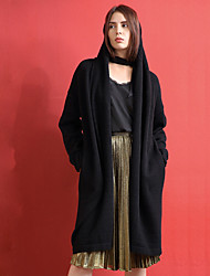 Mujer Largo Cardigan Noche Simple,Un Color Negro Escote en Pico Manga Larga Algodón / Acrílico / Licra Otoño Medio Microelástico