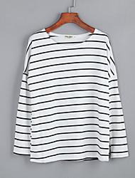 Damen Gestreift Street Schick Lässig/Alltäglich T-shirt,Rundhalsausschnitt Herbst Langarm Weiß Baumwolle Mittel