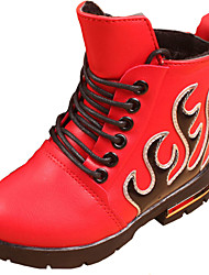 Girl's Boots Fall / Winter Comfort PU Dress / Casual Flat Heel Lace-up Black / Red Walking