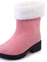 Women's Boots Fall Winter Comfort PU Outdoor Casual Low Heel Black Pink Gray Walking Other