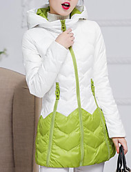 Women's Down Coat,Simple Casual/Daily Color Block-Polyester White Duck Down Long Sleeve Green / Purple